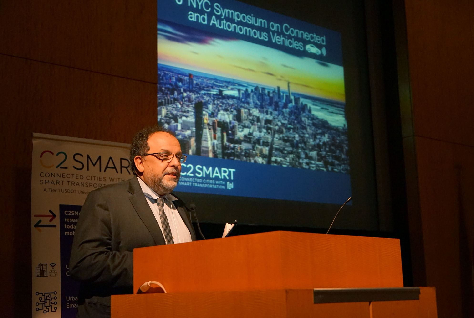 C2SMART Director Kaan Ozbay offers opening remarks at the start of the 6th NYC Symposium on Connected and Autonomous Vehicles