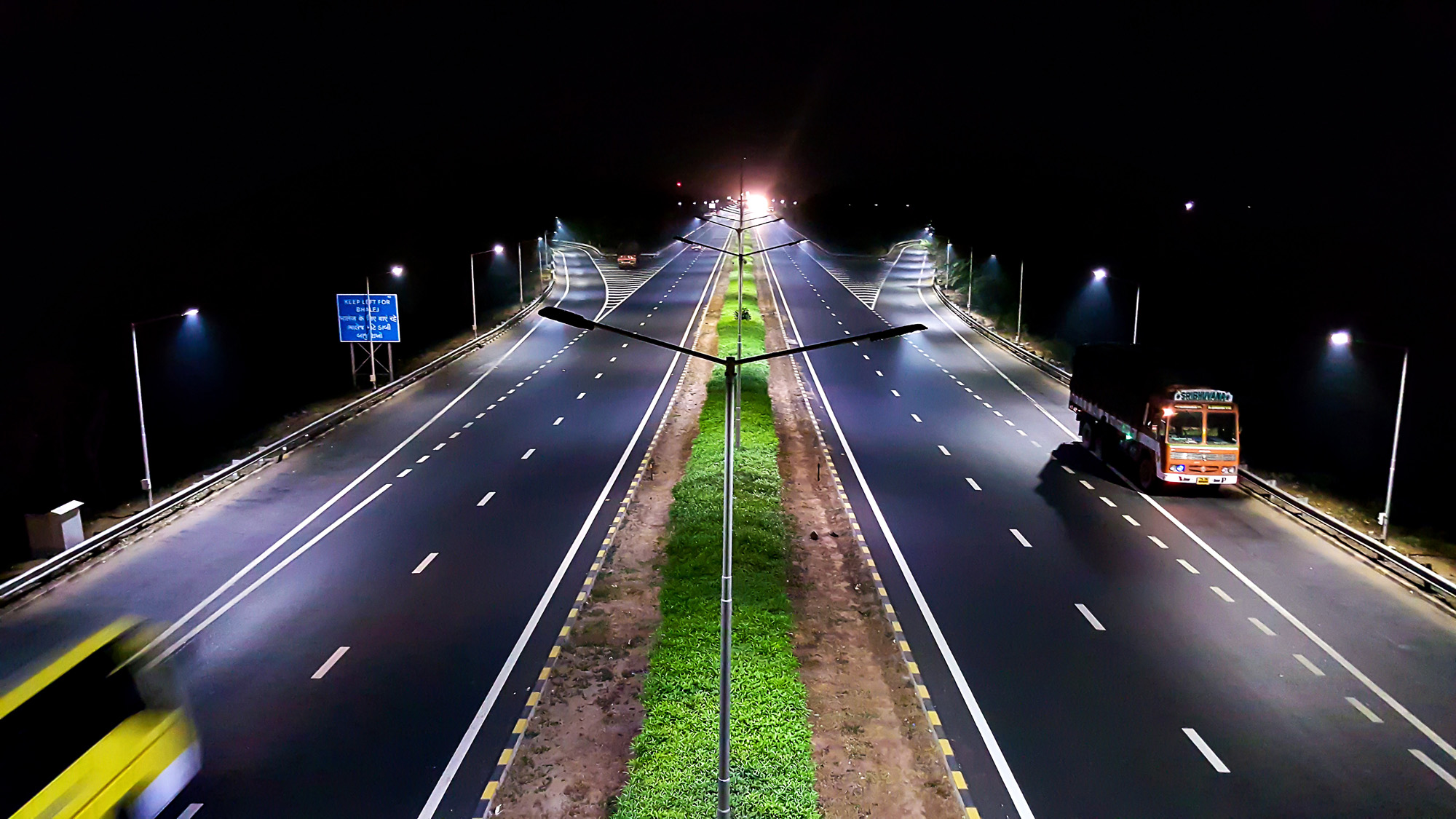 nighttime empty highway