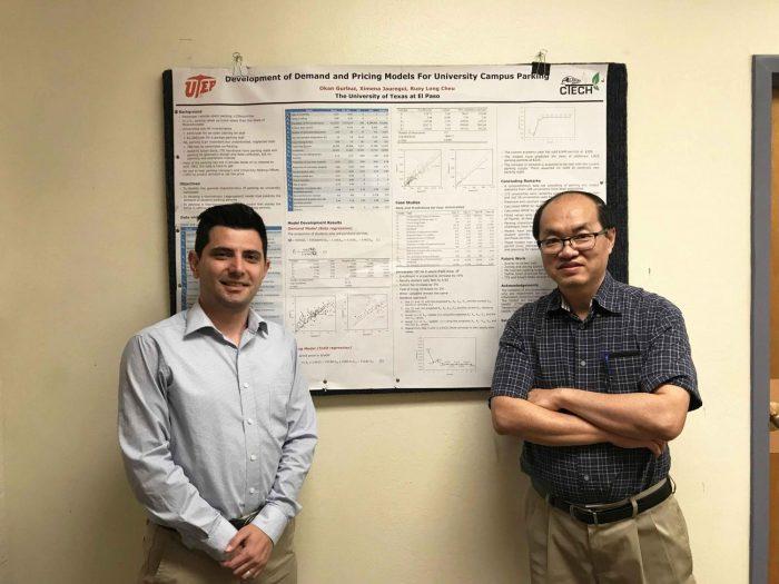 Ph.D. candidate Okan Gurbuz and Professor Kelvin Cheu present research on university parking demand models