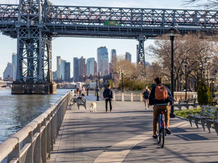 Photo of Biker on Brooklyn Promenade